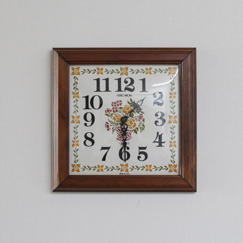 Vintage Square Wood Frame Wall Clock #02