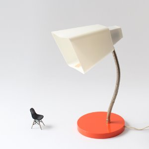 vintage plastic white & orange lamp